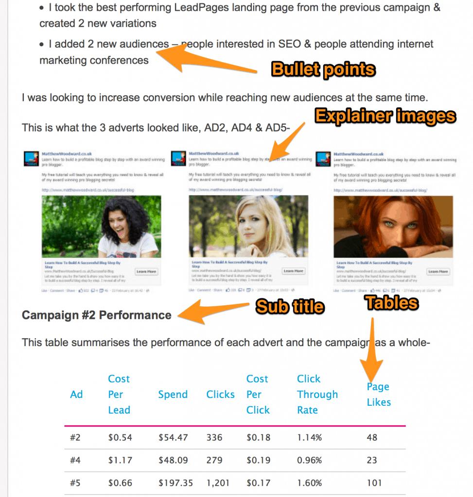 Matthew Woodward post formatting example