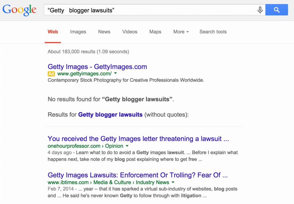 Getty Blogger Lawsuits