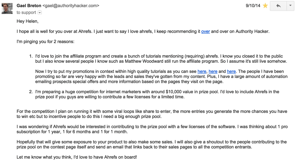 Ahrefs email pitch