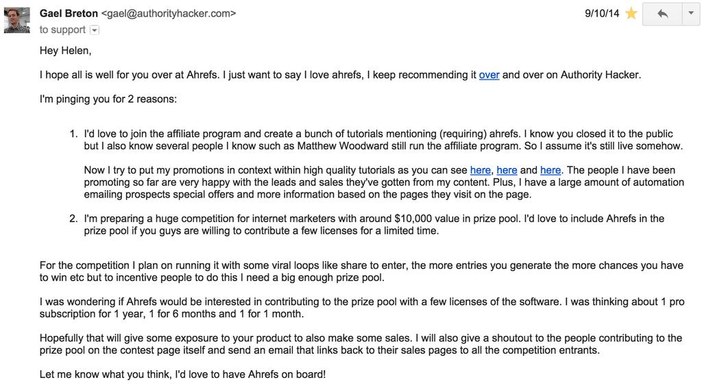 E-mail di Ahrefs
