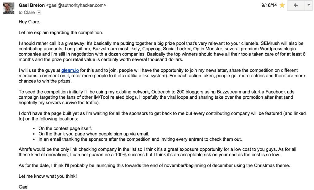 Follow-up dell'email di Ahrefs