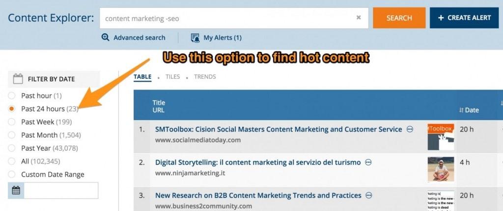 Ahrefs Content Explorer filters