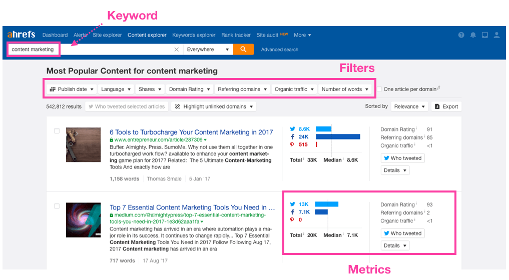 Ahrefs content explorer search
