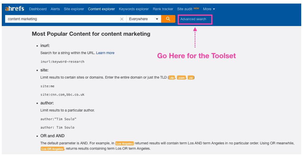 Ahrefs content explorer advanced search