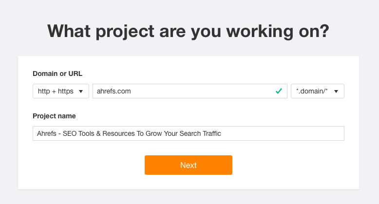 Ahrefs project description