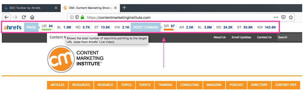 SEO Toolbar Domain/Page Level Stats