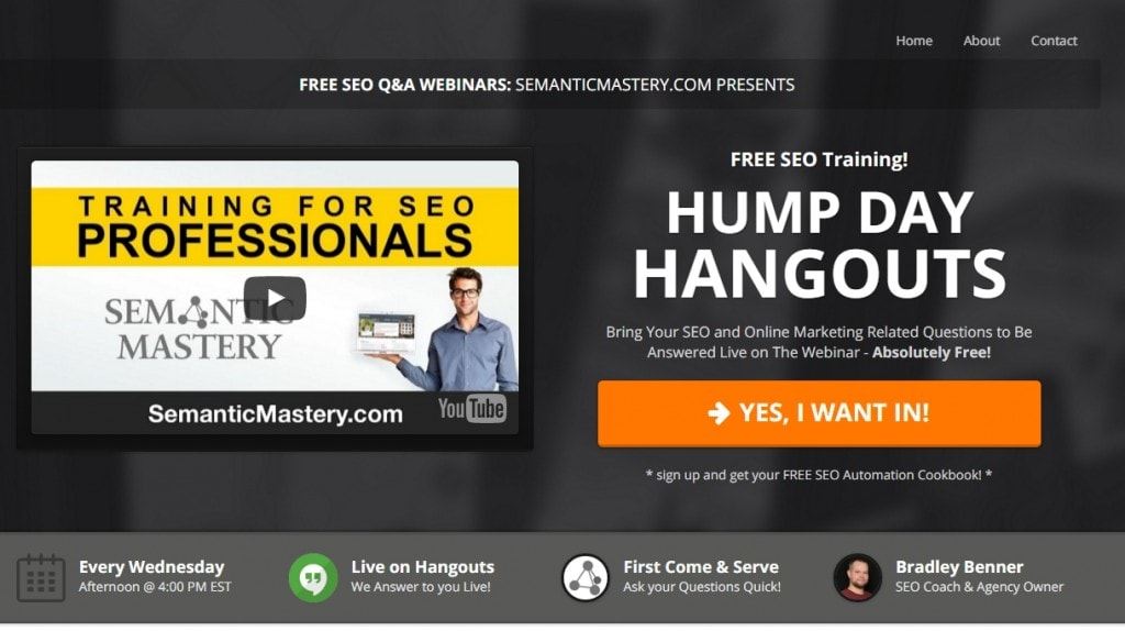 Hump Day Hangouts Squeeze Page Sign Up