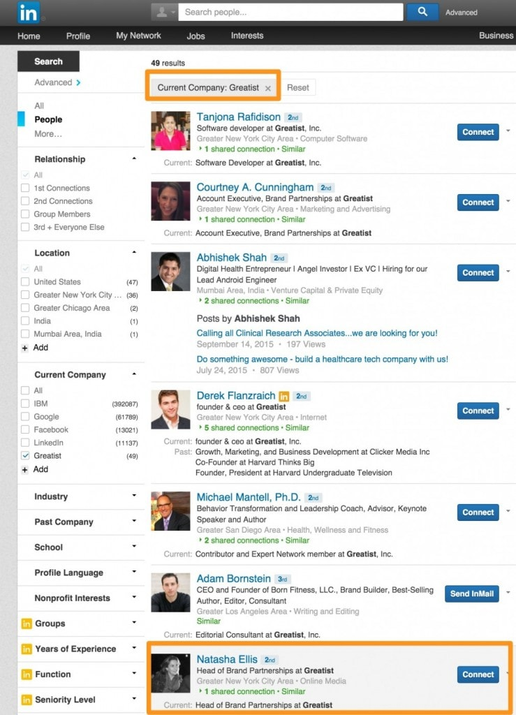 search Linkedin