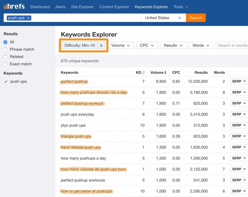 push ups Ahrefs Keywords Explorer