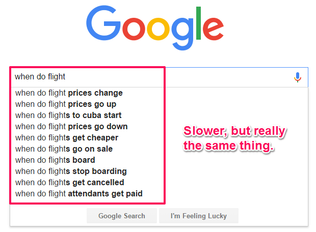 'when do flights' Google search suggestions