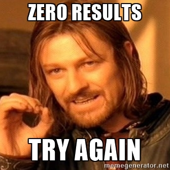 zero results try again