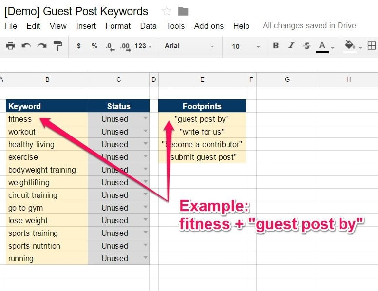 Guest Post Keyword Spreadsheet