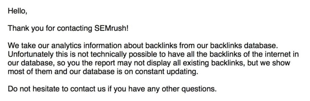 SEMRush reply for contact form