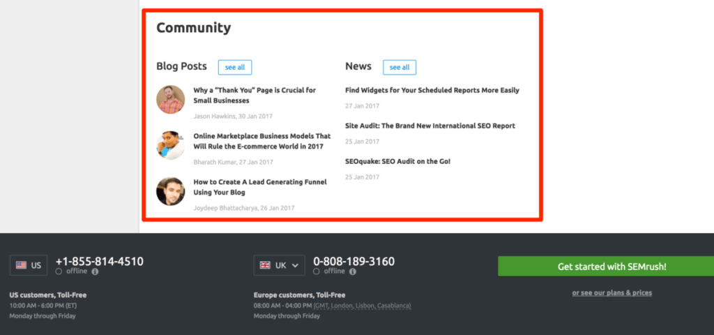 SEMRush Blog Posts and News links in the footer