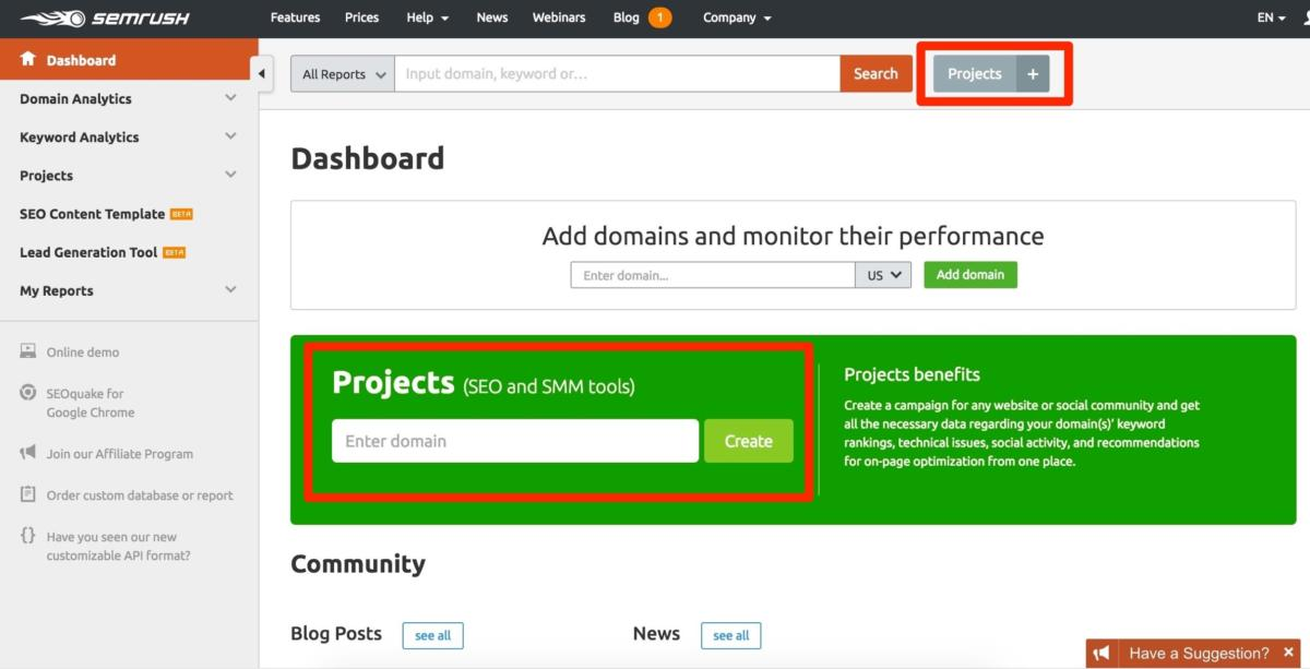 SEMRush adding projects