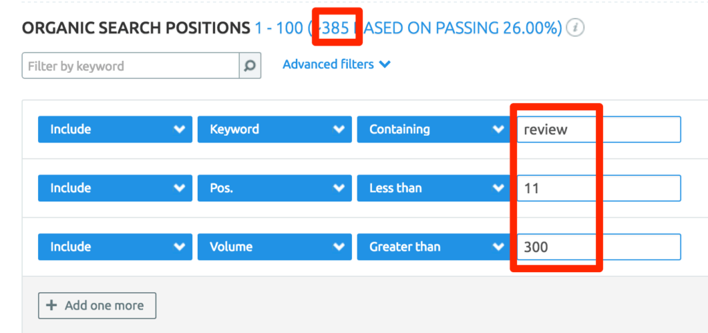 SEMRush Organic Search Positions Filtering Options