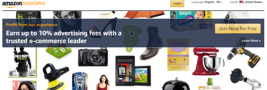Amazon Associates Homepage Screenshot