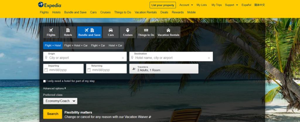 Expedia Homepage Screenshot