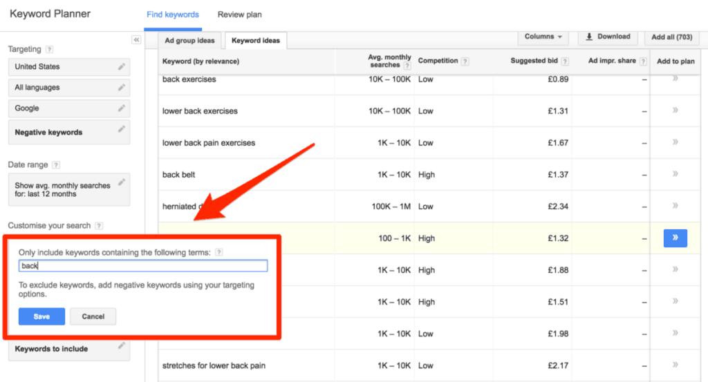 Keyword Planner Filtering Options