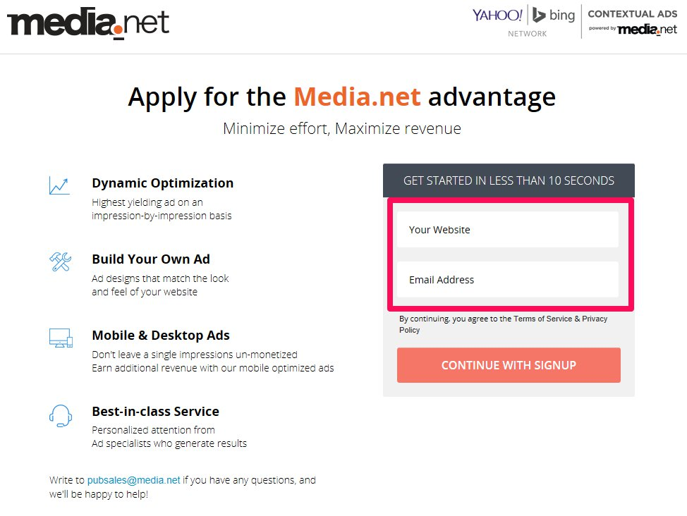 Media.net signup page
