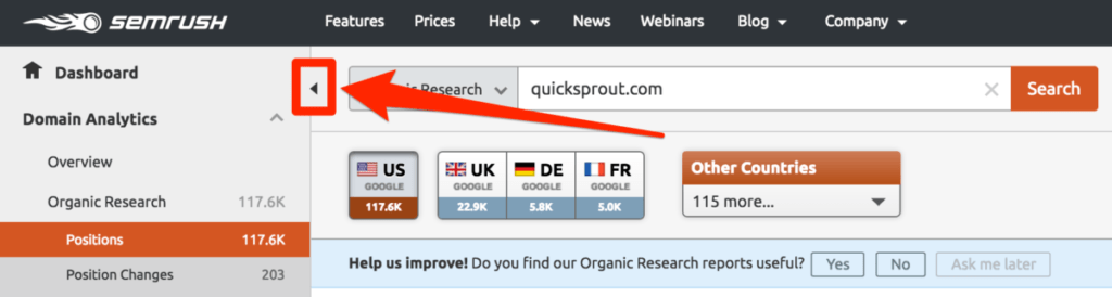 narrow keyword column in SEMRush