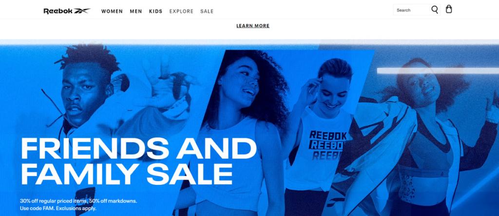 Reebok Homepage Screenshot