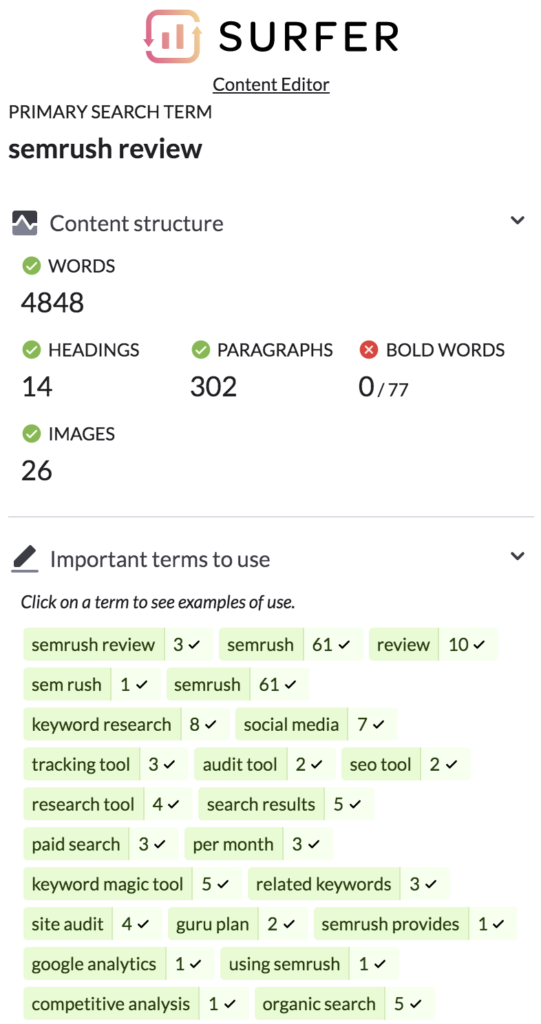 Surfer Editor Seo Content Keyword Suggestions
