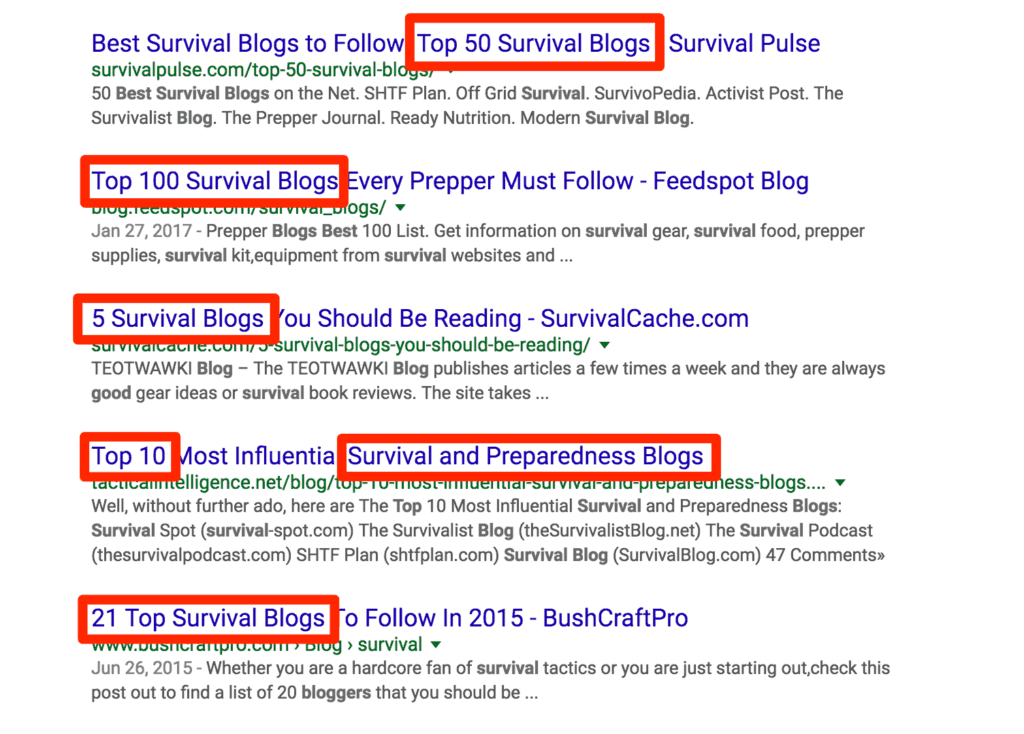 Survival Blogs Google Search Results