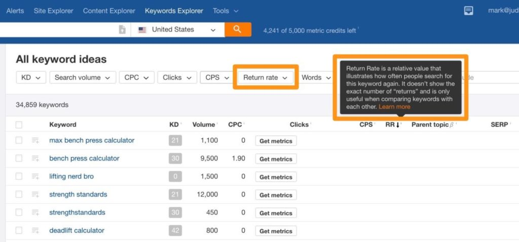 Ahrefs keyword ideas filtered by return rate