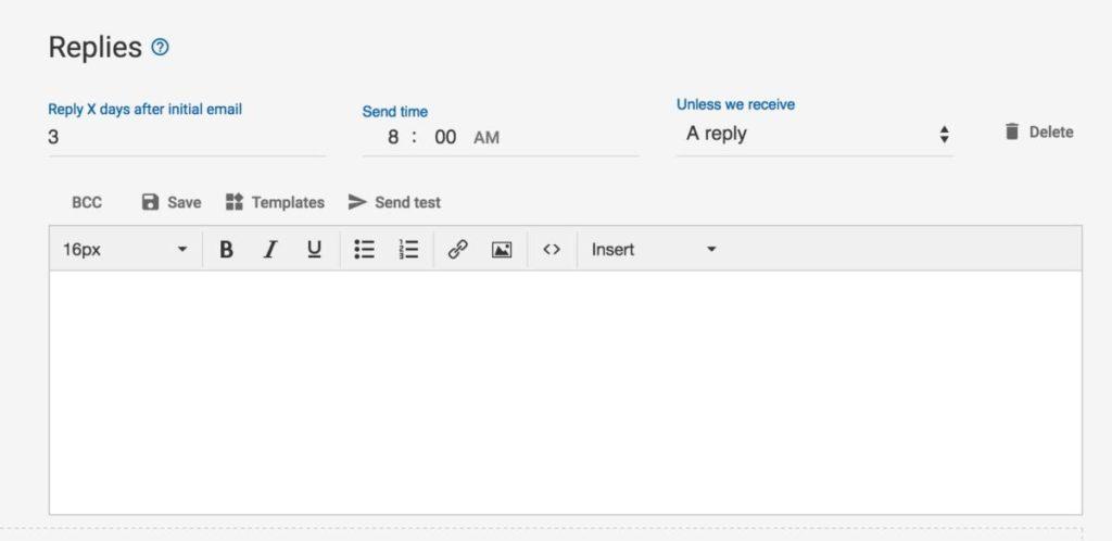 MailShake follow-up options