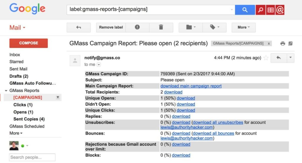 GMass report for campaigns