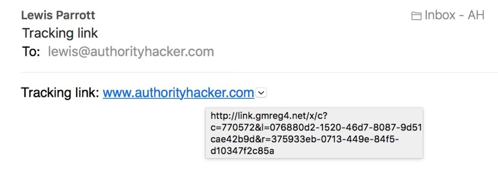GMAss outreach email with default tracking domain