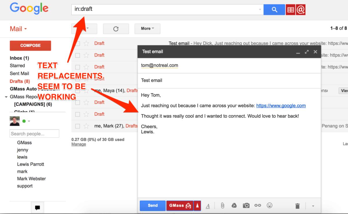 GMass draft mode email