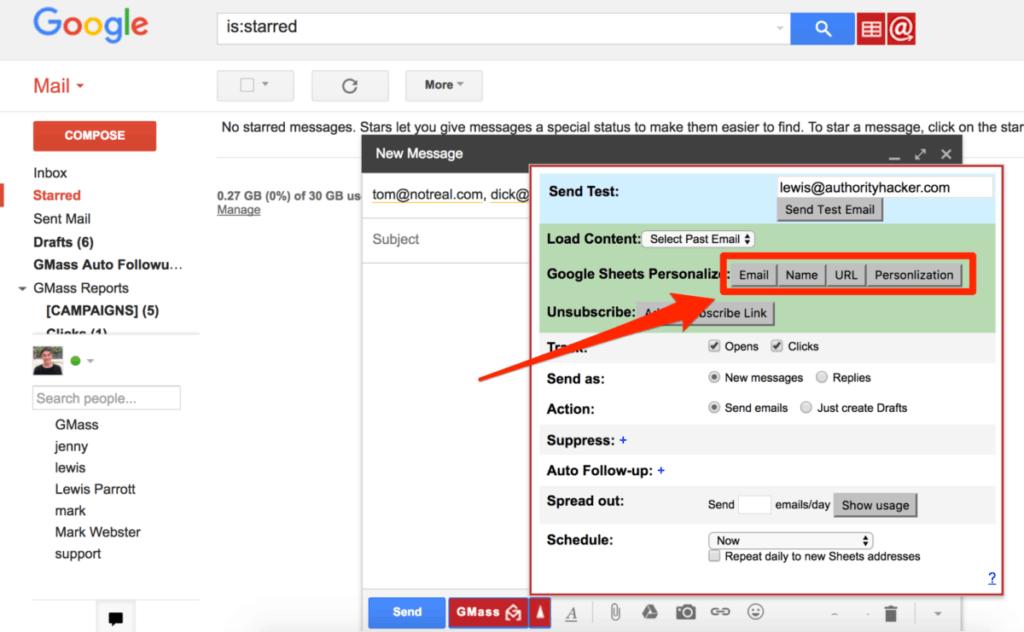 GMass Google Sheet Personalization elements