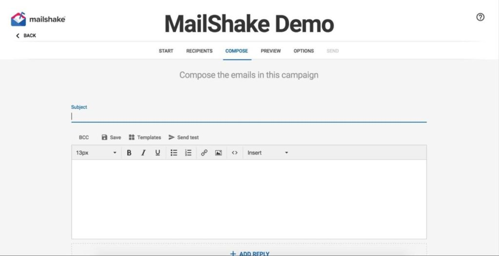 MailShake user interface