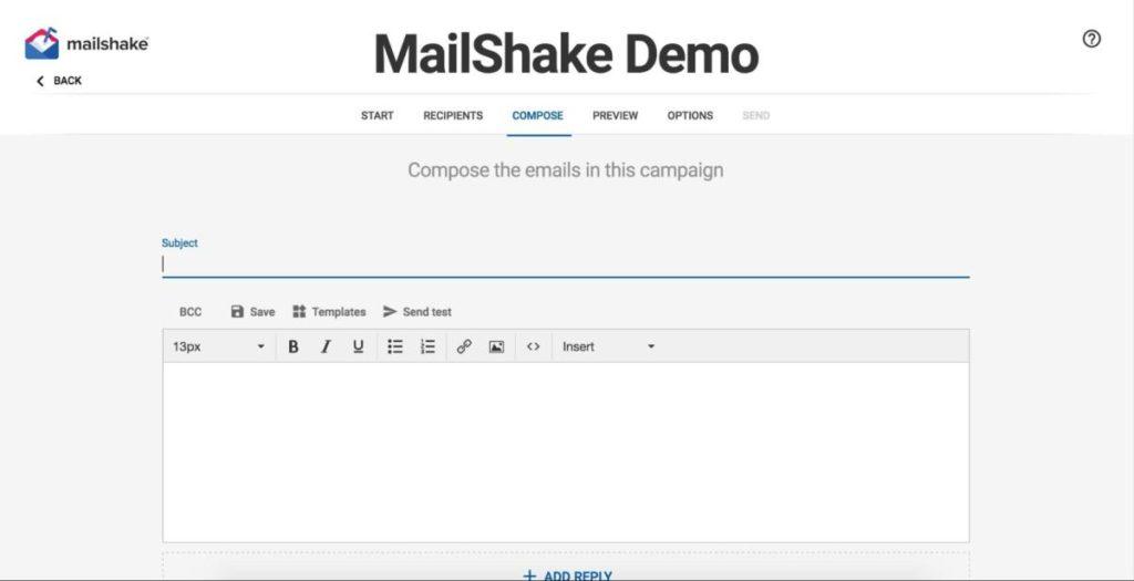 MailShake user interface