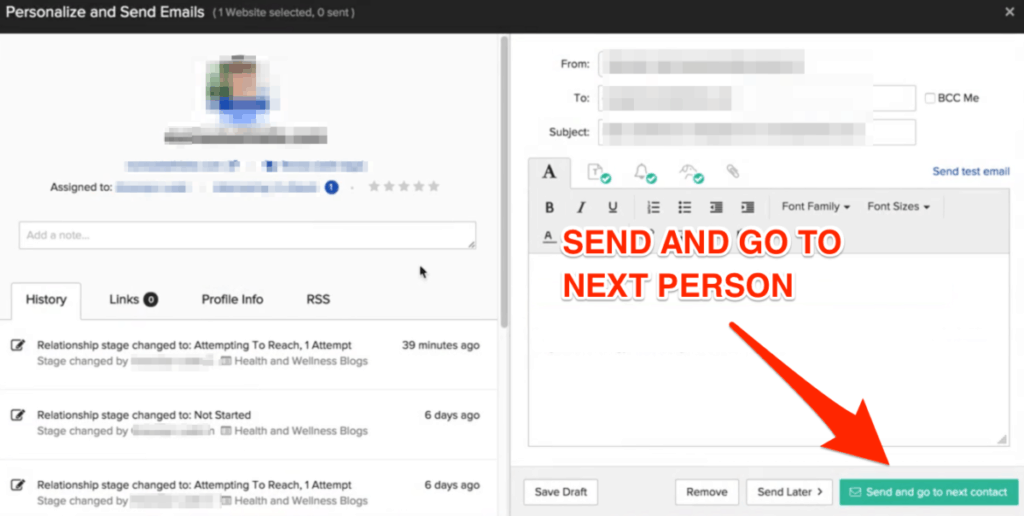 Buzzstream Personalize and Send Emails