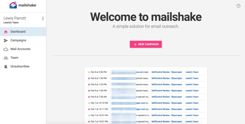MailShake dashboard