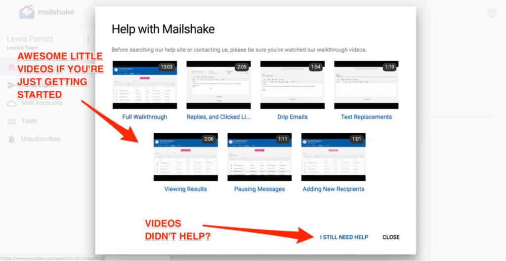 Help With Mailshake