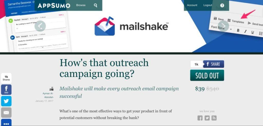 Mailshake Appsumo Deal