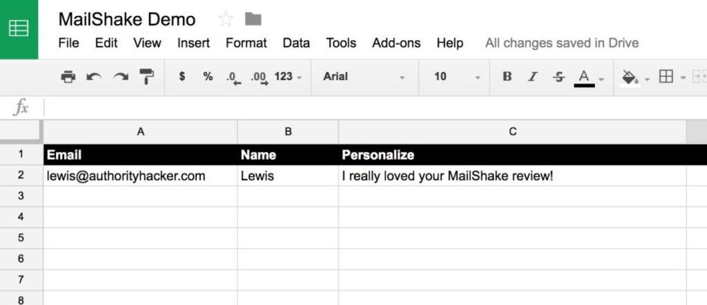 Mailshake Demo Sheet With Personalization