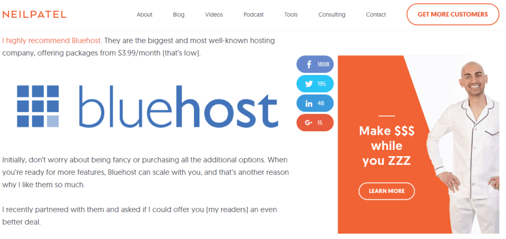Neil Patel bluehost recommendation