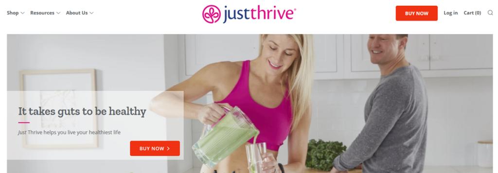 Just Thrive Probiotic Homepage Screenshot