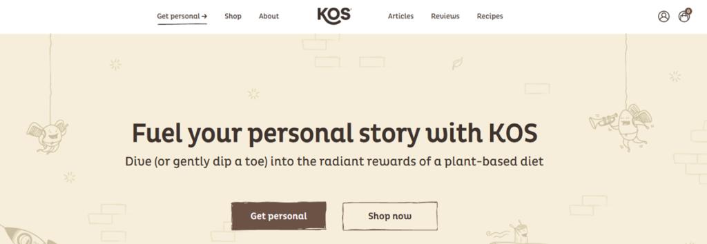 Kos Homepage Screenshot