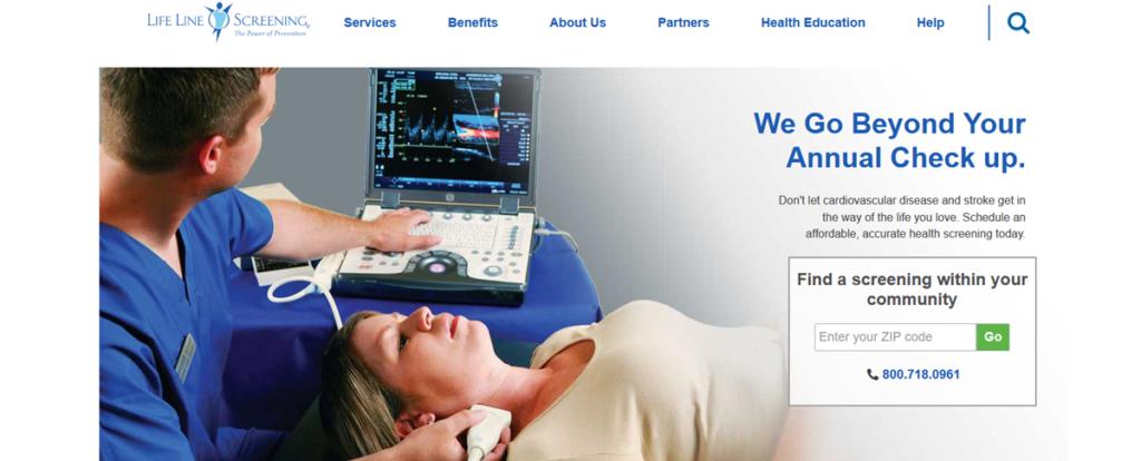 Life Line Screening Homepage Screenshot