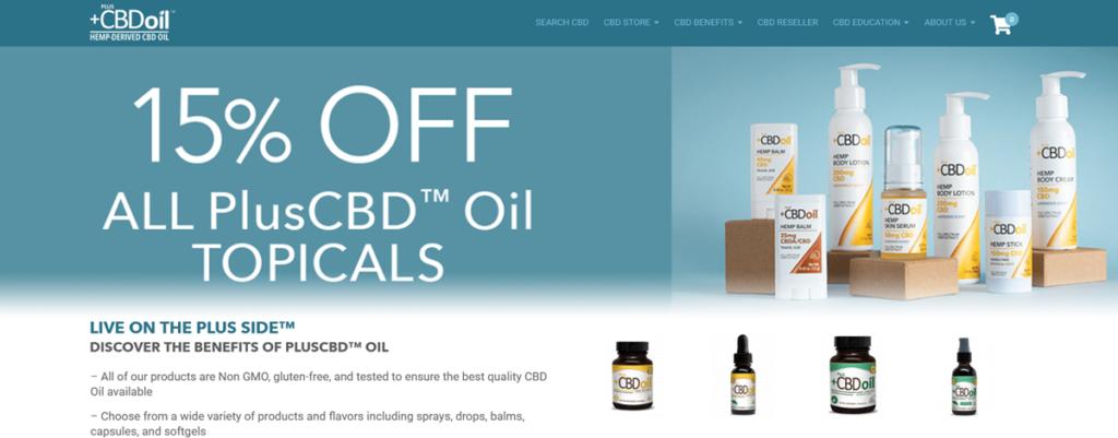 Plus Cbd Oil Homepage Screenshot