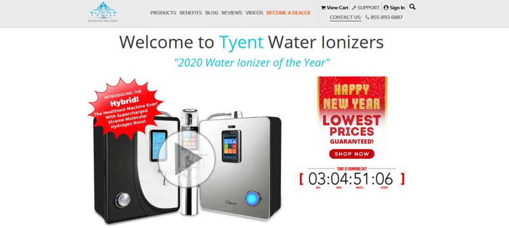 Tyent Water Ionizers Homepage Screenshot