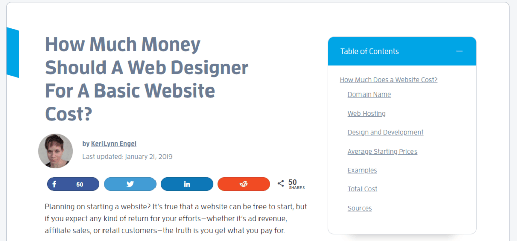 How much money should a basic website cost