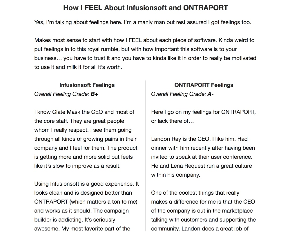 InfusionSoft vs Ontraport the ultimate showdown