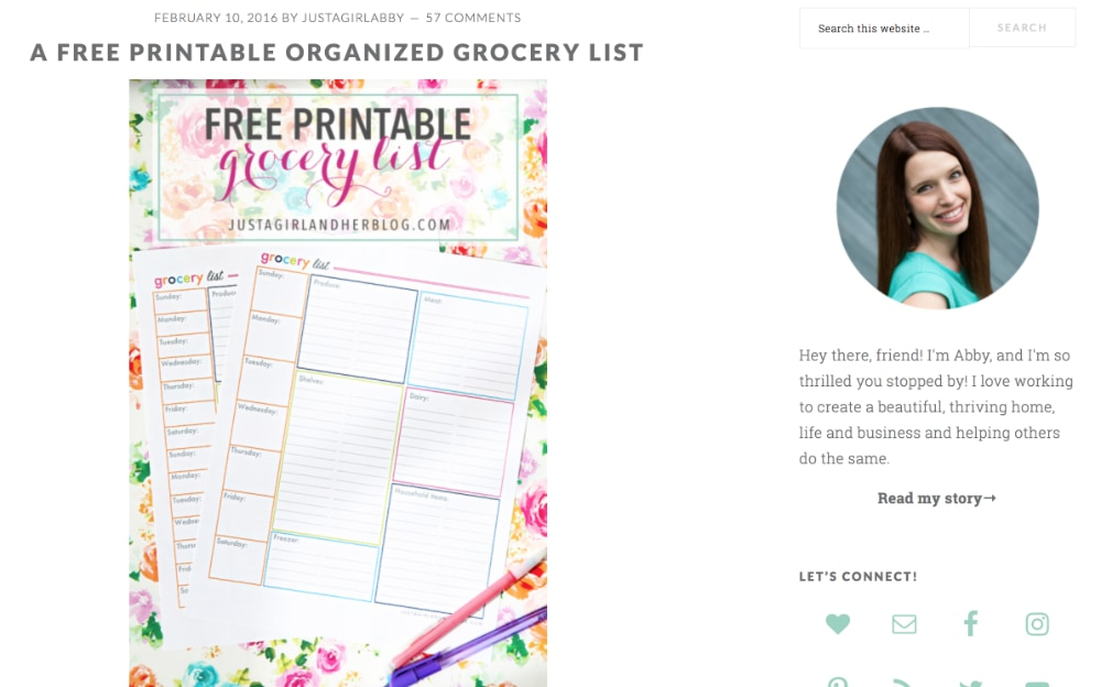Just a Girl and Her Blog Grocery List